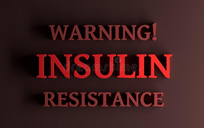 Parole rosse - insulino-resistenza d'avvertimento su fondo rosso scuro illustrazione di stock