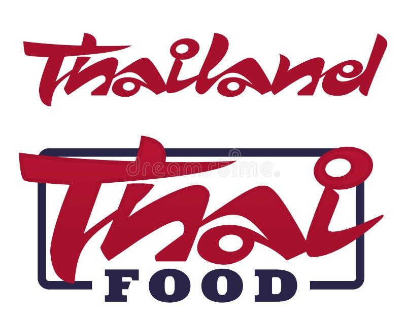 Parole scritte a mano Tailandia ed alimento tailandese illustrazione vettoriale