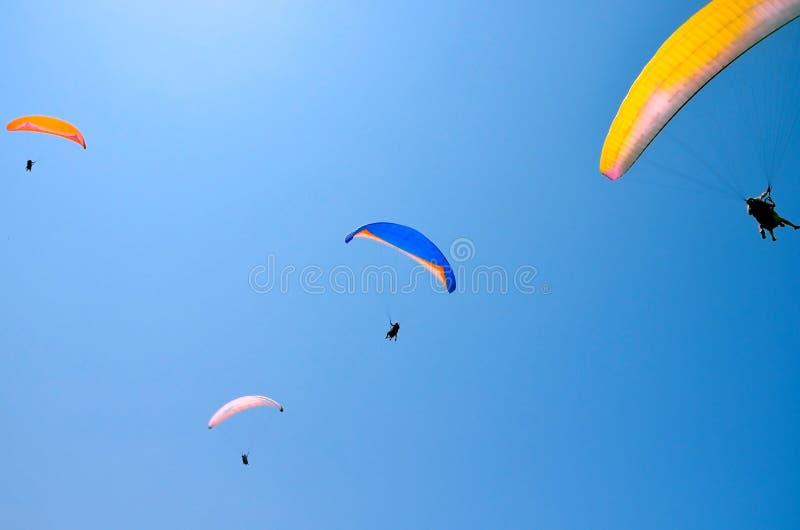 Paroplane反对蓝天的小组飞行 极端体育,享有生活,赞赏时间,纵排滑翔伞,受控飞行员 免版税图库摄影