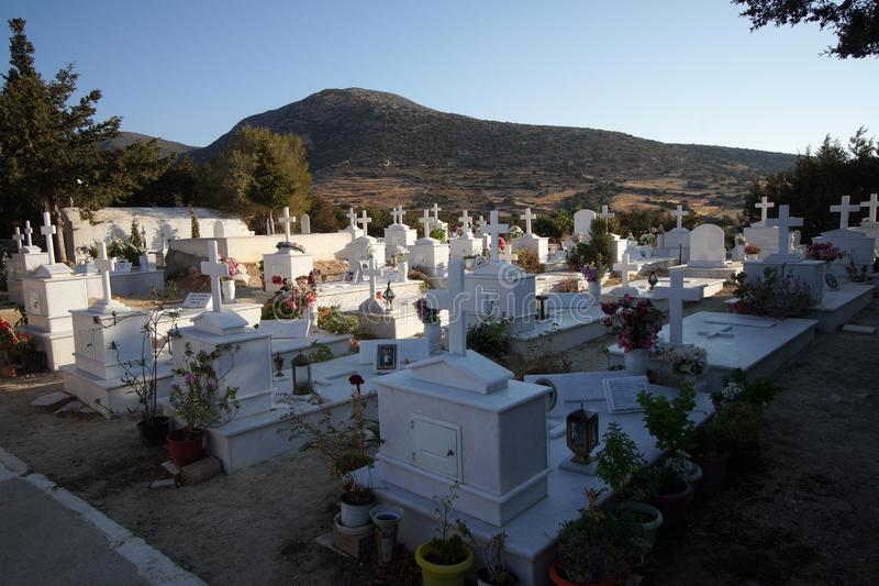 Paros, Greece, 15 September 2018, A typical Greek cemetery near an Orthodox church royalty free stock image