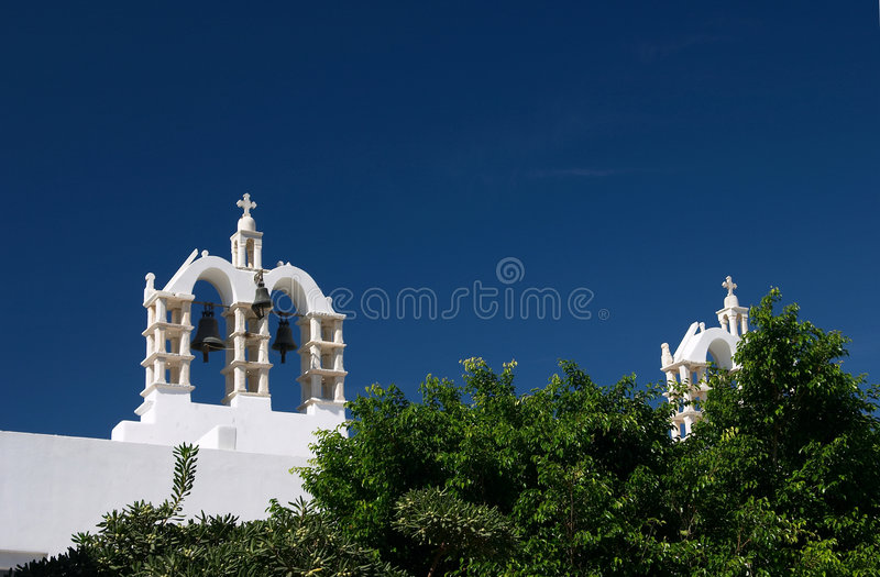 Paros, Griekenland, klokketoren met klokken royalty-vrije stock foto's