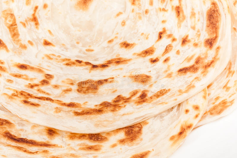 Parotta. Closeup of homemade stack of parotta (indian bread) on a plate stock photo