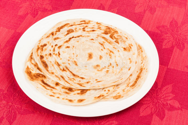 Parotta. Homemade stack of parotta (indian bread) on a plate stock photography