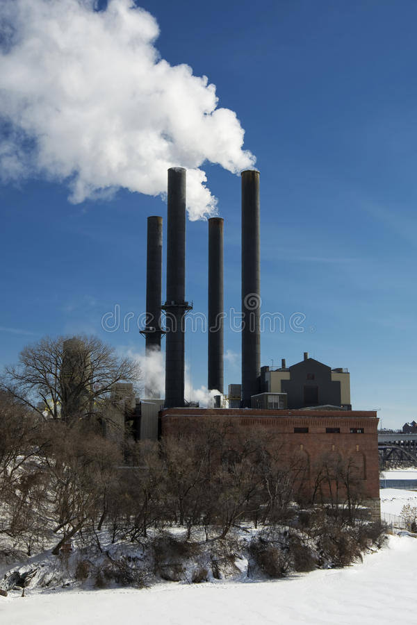 Parowa elektrownia, rzeka mississippi, Minneapolis, Minnestoa, usa zdjęcia stock