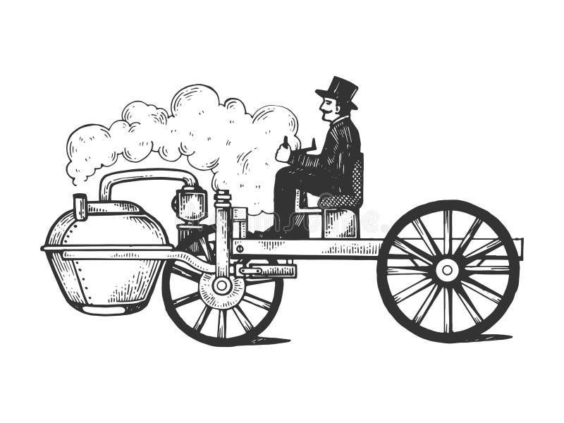 Parowego silnika rytownictwa wektoru samochodowa ilustracja royalty ilustracja
