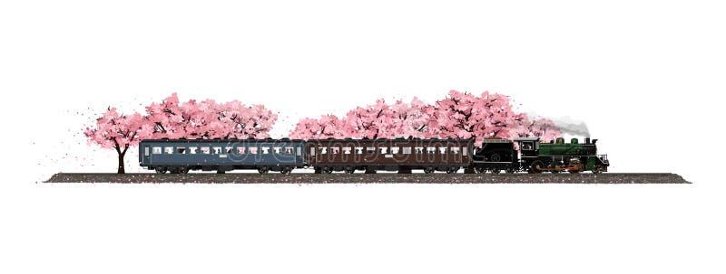 Parowej lokomotywy bieg w wiośnie ilustracji