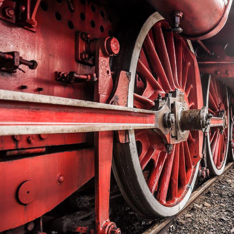 Parowej lokomotywy koła szczegół obraz royalty free