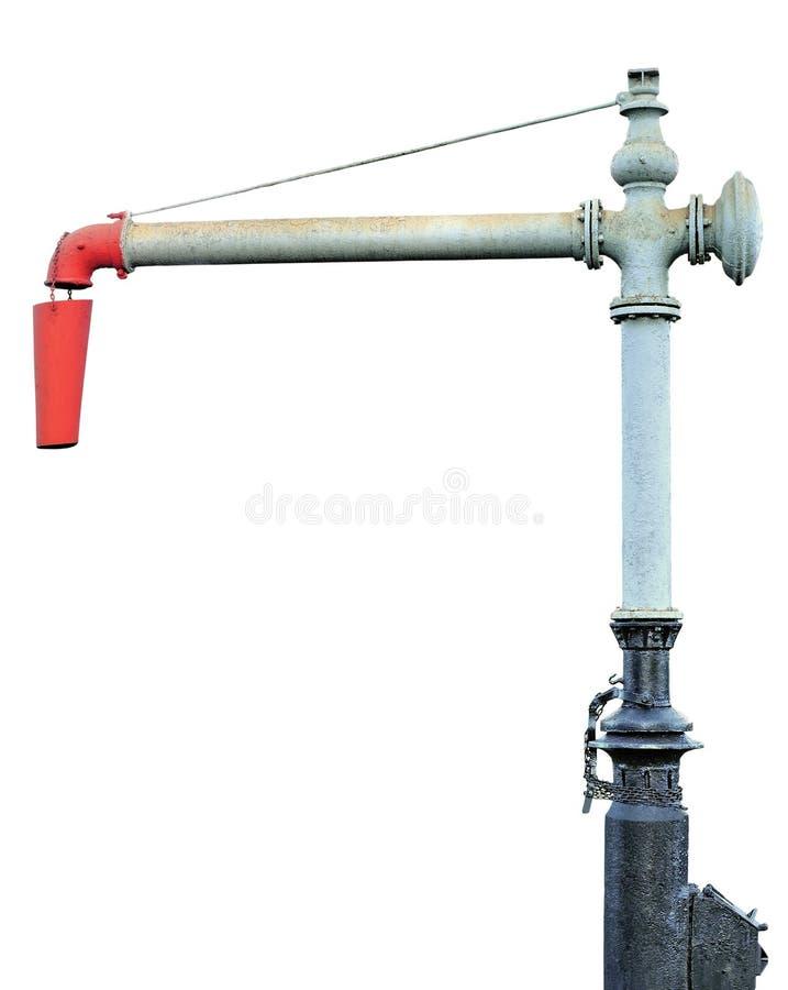Parowej Taborowej Lokomotorycznego silnika wody Standpipe Dźwigowy Szpaltowy Spout, linii kolejowej staci Kolejowi ślada Nawadnia obrazy royalty free