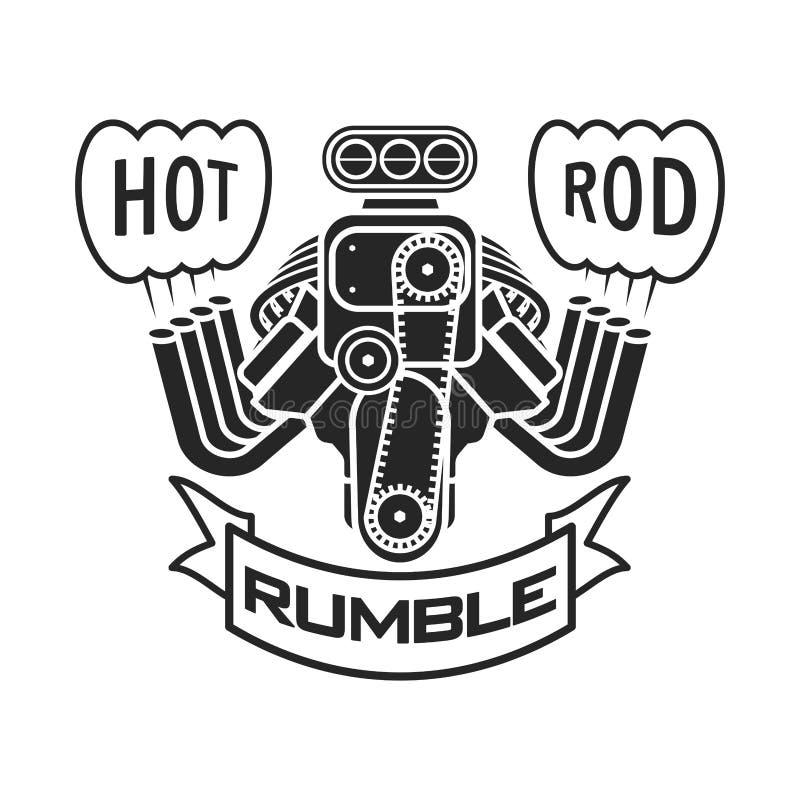 Parowozowej gorącego prącia mięśnia speedster loga samochodowej koszulki sztandaru plakatowy wektor royalty ilustracja