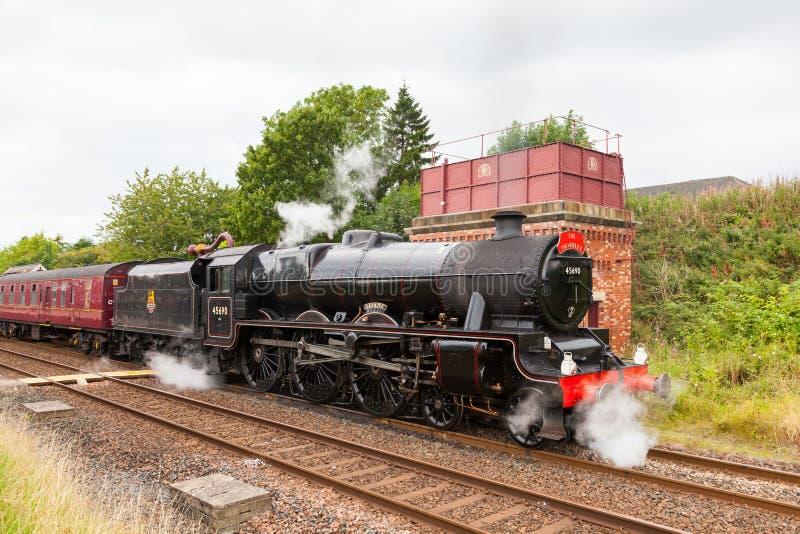 Parowy pociąg, Leander, przy Appleby w Cumbria zdjęcie royalty free