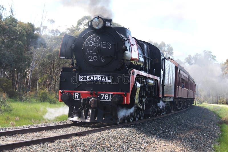 Parowy pociąg na śladach zdjęcia stock