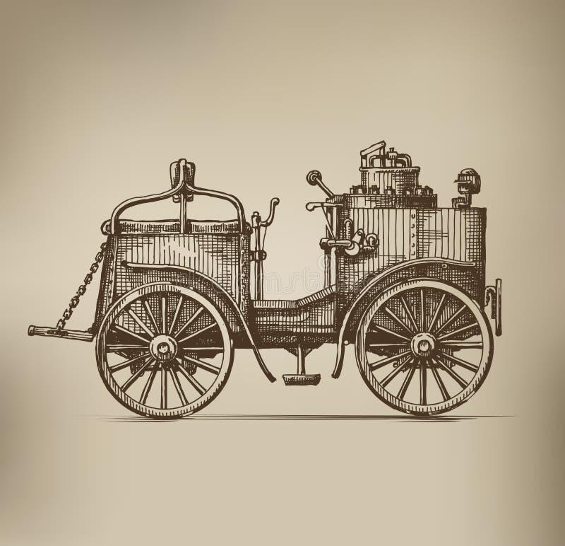 Parowy samochód ilustracji