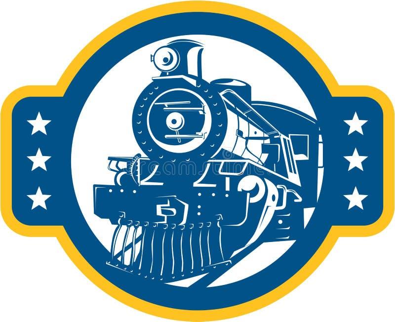 Parowy Taborowy lokomotywa przód Retro ilustracji