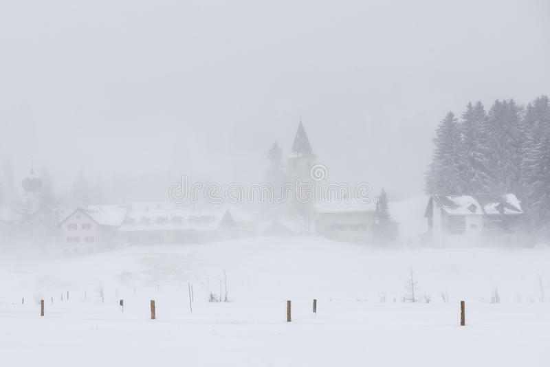Parpan with Church in Snow royalty free stock photo