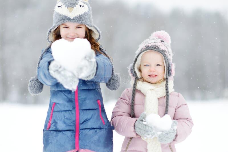 Parque adorable divertido del invierno de dos pequeñas hermanas fotografía de archivo libre de regalías