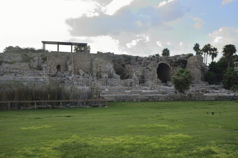 Parque arqueológico de Caesarea fotos de stock royalty free