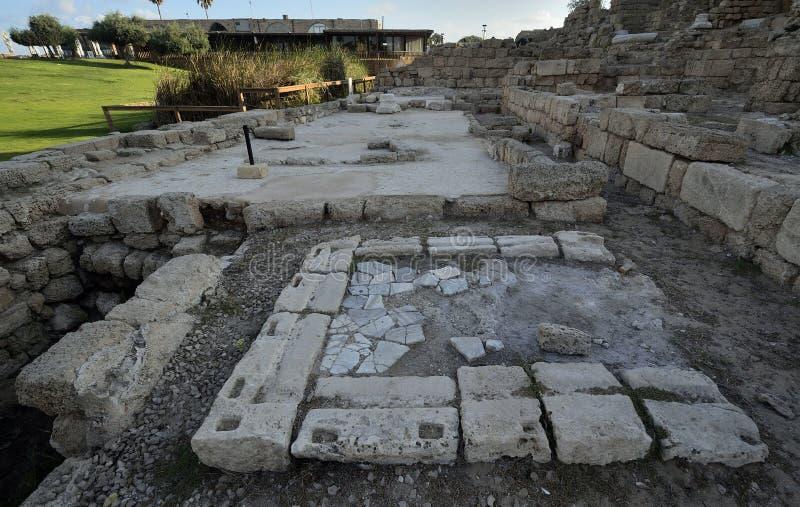 Parque arqueológico de Caesarea fotos de stock