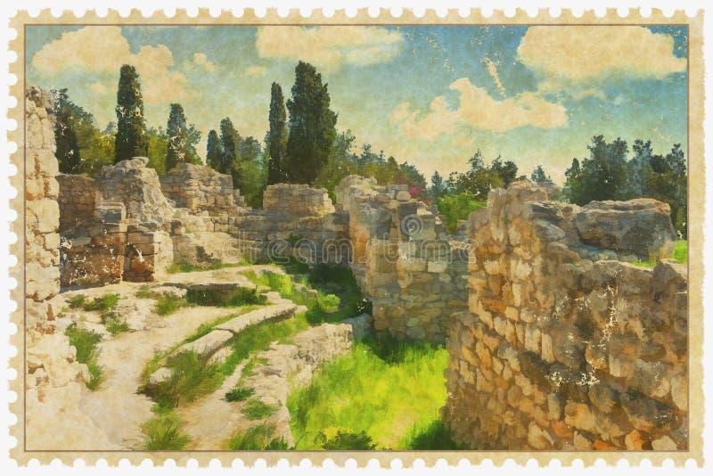 Parque arqueológico nacional de Khersones- ilustración del vector