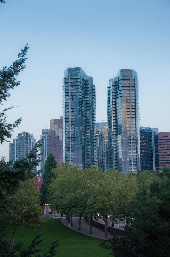 Parque céntrico de Bellevue por la tarde imagen de archivo