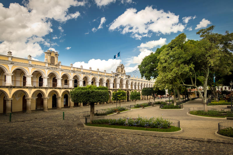 Parque Central and Colonial Buildings - Antigua, Guatemala stock photography