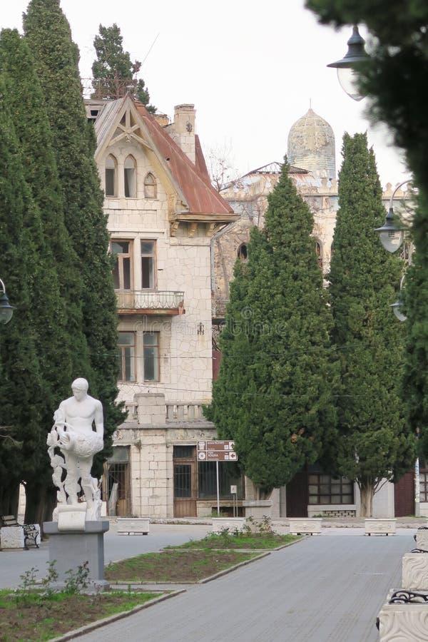 Parque central do cipreste de Simeiz imagens de stock royalty free