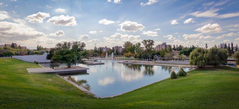 Parque Central Park Lake - Mendoza, Argentina. Panoramic view of Parque Central Park Lake in Mendoza, Argentina stock photo