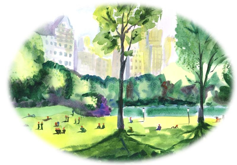 Parque cercado por casas altas e por árvores verdes bonitas ilustração stock