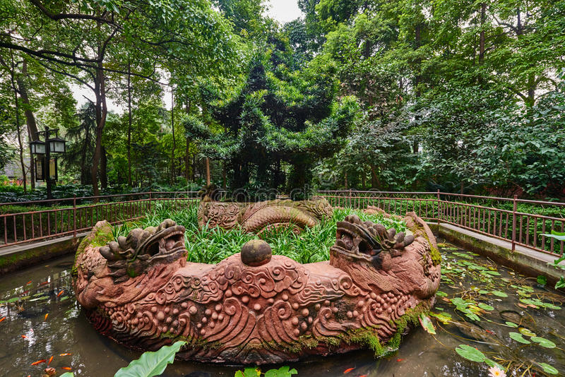 Parque Chengdu Sichuan China del monasterio de Wenshu imagenes de archivo
