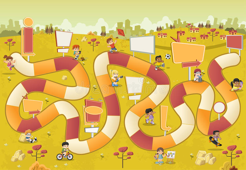 Parque colorido con los niños de la historieta que juegan sobre un juego de mesa ilustración del vector