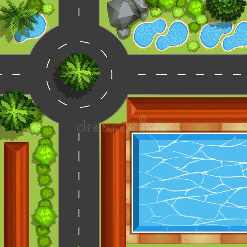 Parque com associação e lagoas ilustração stock