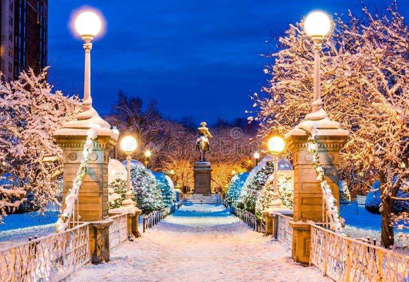 Parque comum congelado de Boston no inverno imagem de stock royalty free