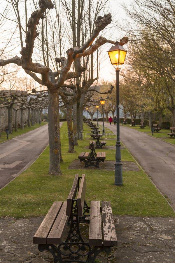 Parque con los bancos en el anochecer foto de archivo libre de regalías