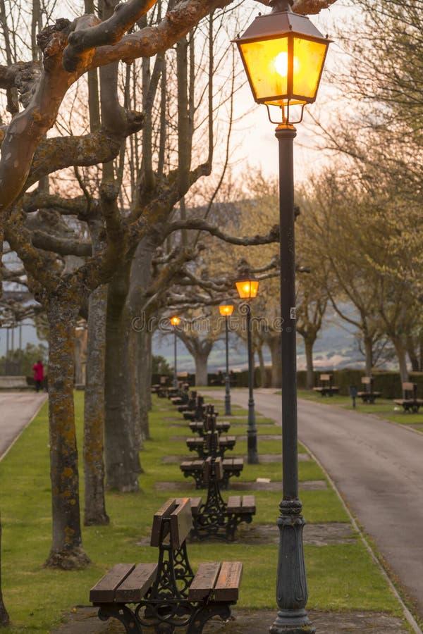 Parque con los bancos en el anochecer imagen de archivo libre de regalías