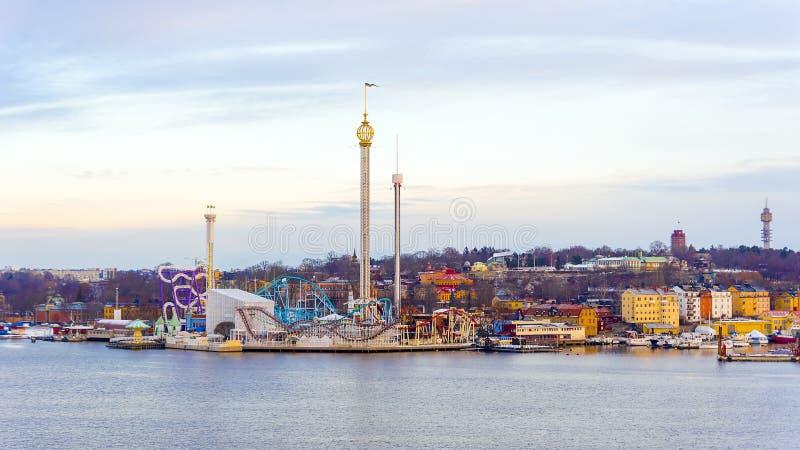 Parque da atração de Grona lund em Éstocolmo, Suécia imagens de stock royalty free
