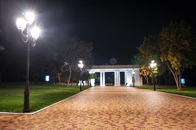 Parque da cidade na noite fotografia de stock royalty free