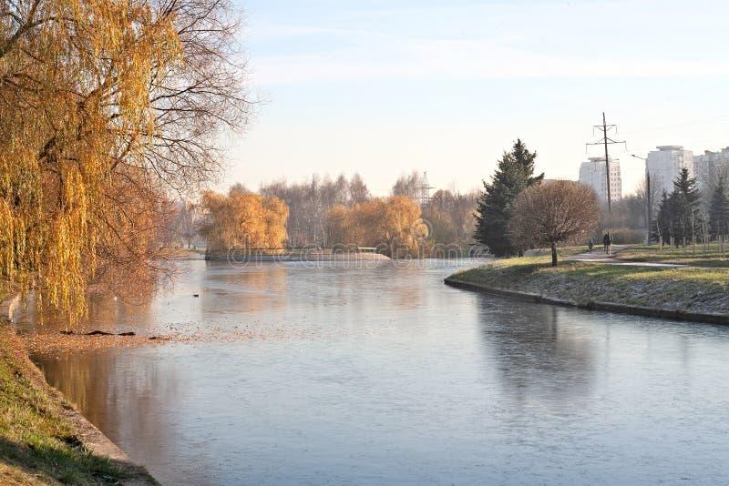 Parque da cidade no outono atrasado fotografia de stock royalty free
