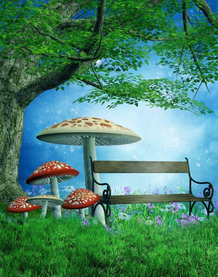 Parque da fantasia com cogumelos ilustração royalty free