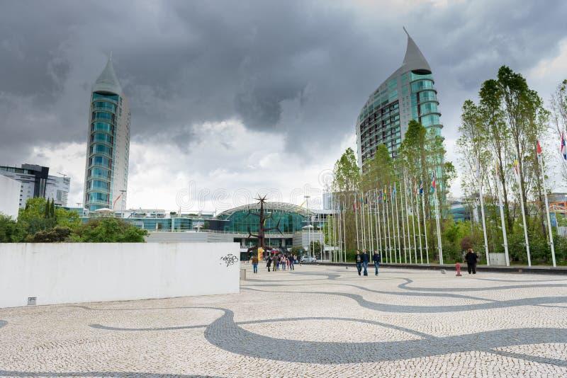 Parque das Nacoes ( Park van Nations) in Lissabon royalty-vrije stock afbeelding