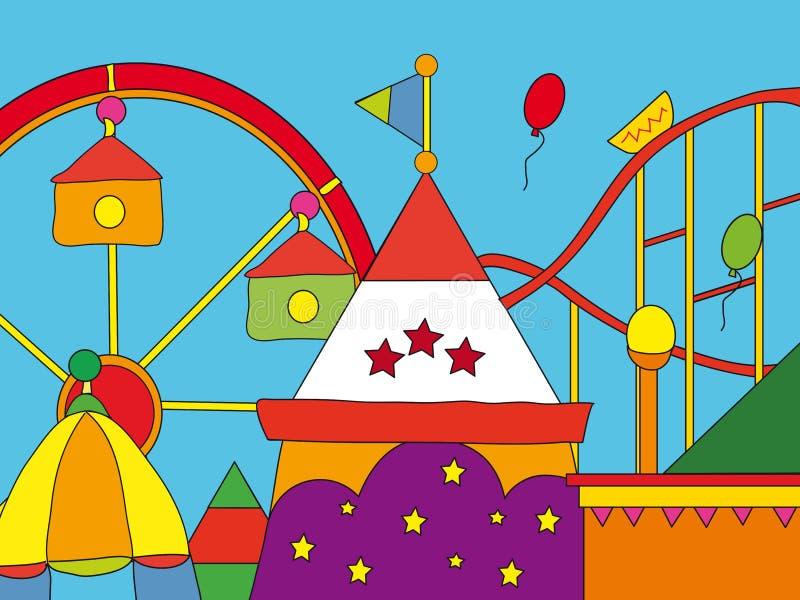 Parque de atracciones ilustración del vector