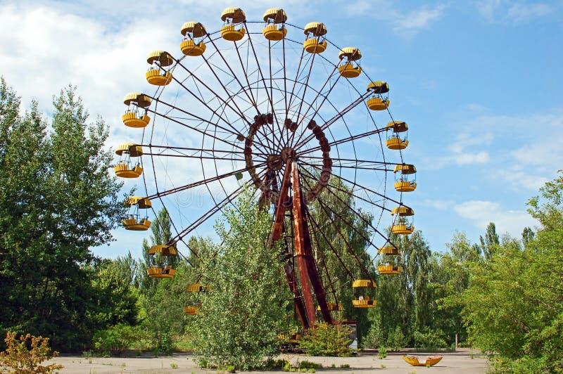 Parque de atracciones abandonado en Pripyat imagen de archivo