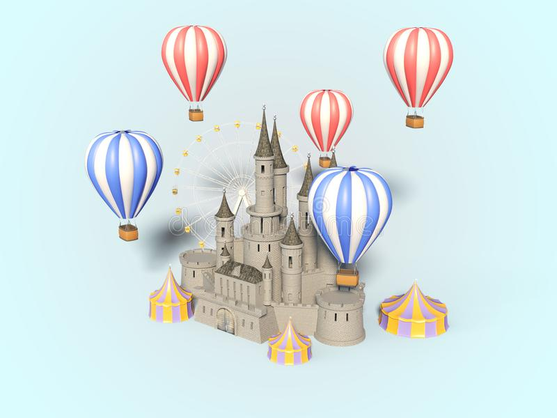Parque de atracciones, carnaval, feria de diversión, circo, festival de la escena del día 3d rinden libre illustration