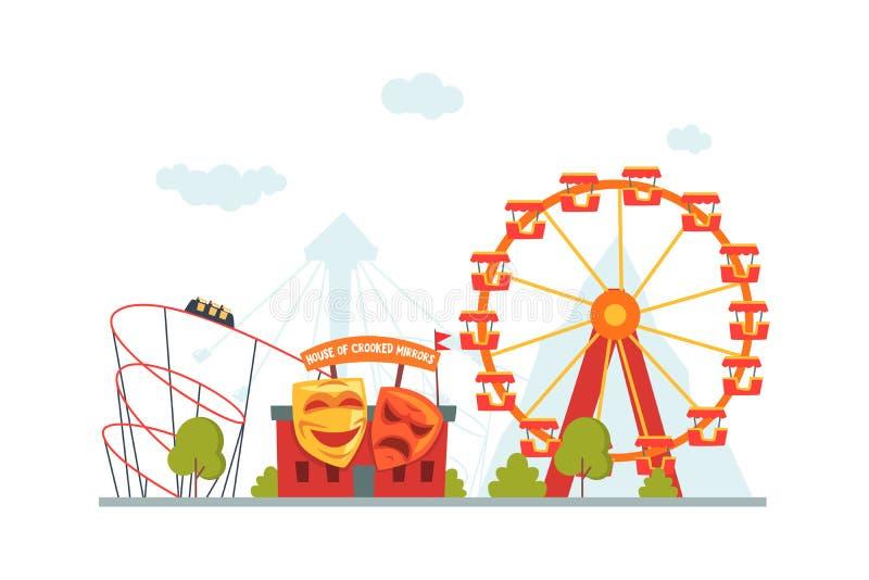Parque de atracciones, casa de espejos torcidos, montaña rusa y Ferris Wheel Vector Illustration stock de ilustración