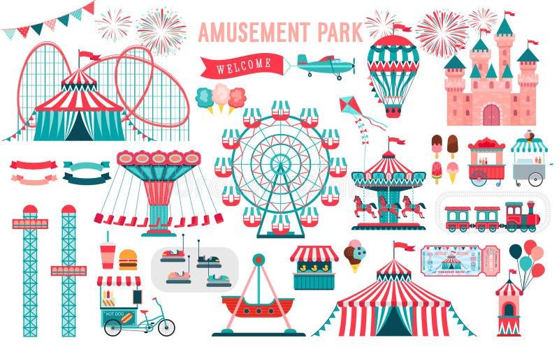 Parque de atracciones, circo y sistema del tema de la feria de diversión, con las montañas rusas, carruseles, castillo, balón de  ilustración del vector