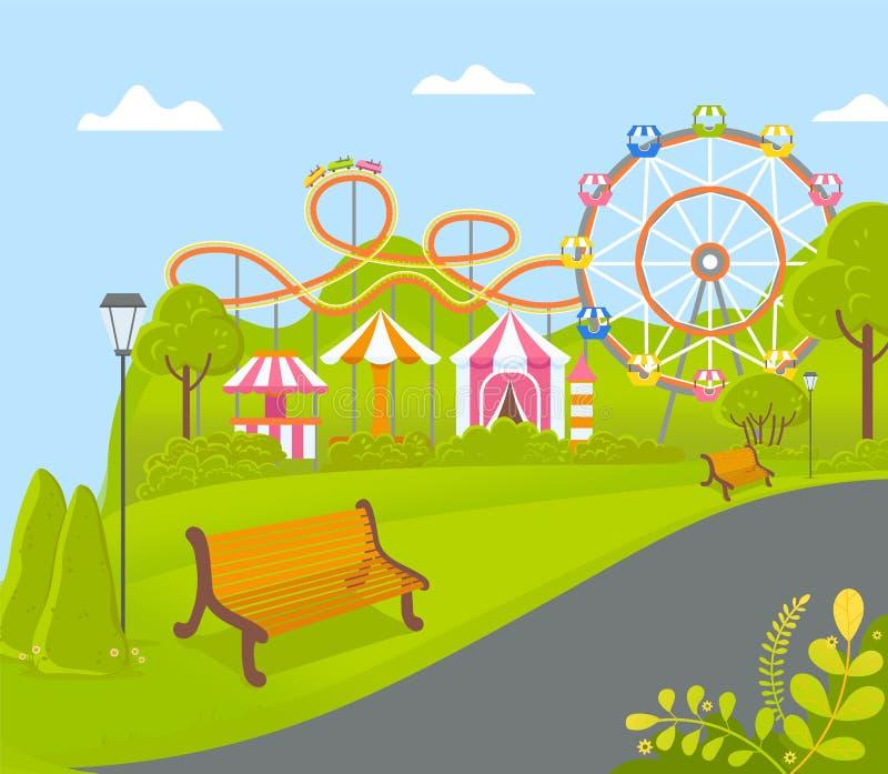 Parque de atracciones con Ferris Wheel Attraction Vector stock de ilustración