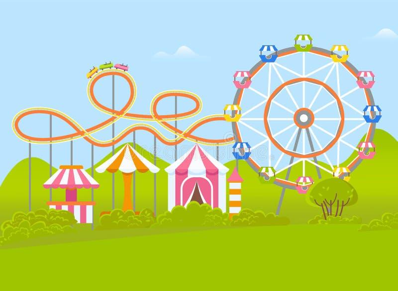 Parque de atracciones con Ferris Wheel y la atracción stock de ilustración