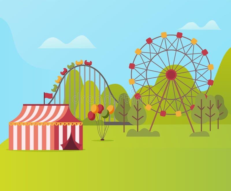 Parque de atracciones con la tienda Ferris Wheel y el carrusel libre illustration