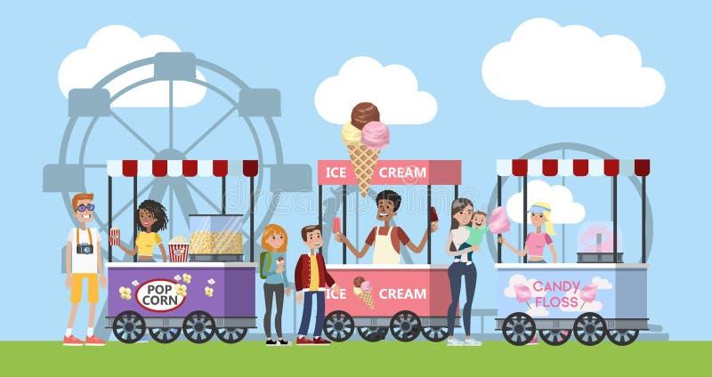 Parque de atracciones con palomitas de maíz, helado y el caramelo de algodón libre illustration