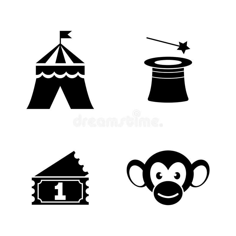 Parque de atracciones del carnaval del circo Iconos relacionados simples del vector stock de ilustración