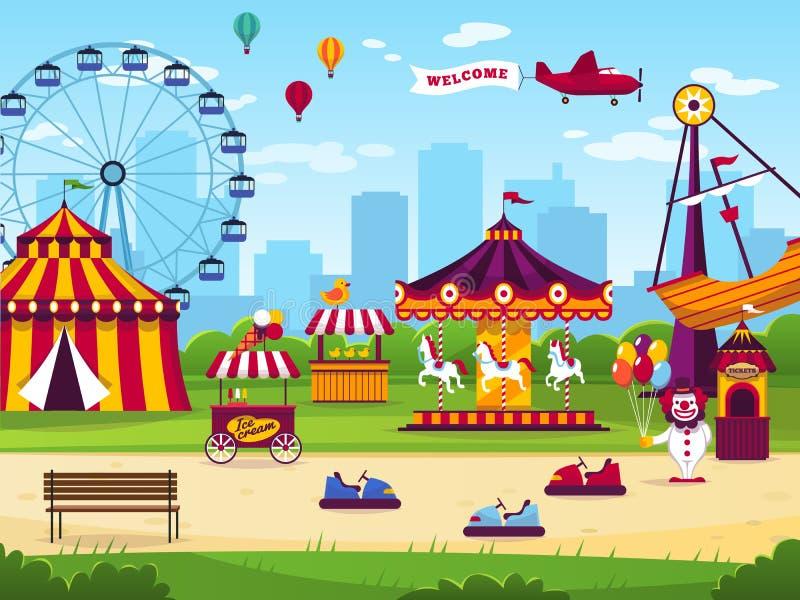Parque de atracciones El entretenimiento de las atracciones alegre divierte el fondo del paisaje del funfair del juego del carrus stock de ilustración