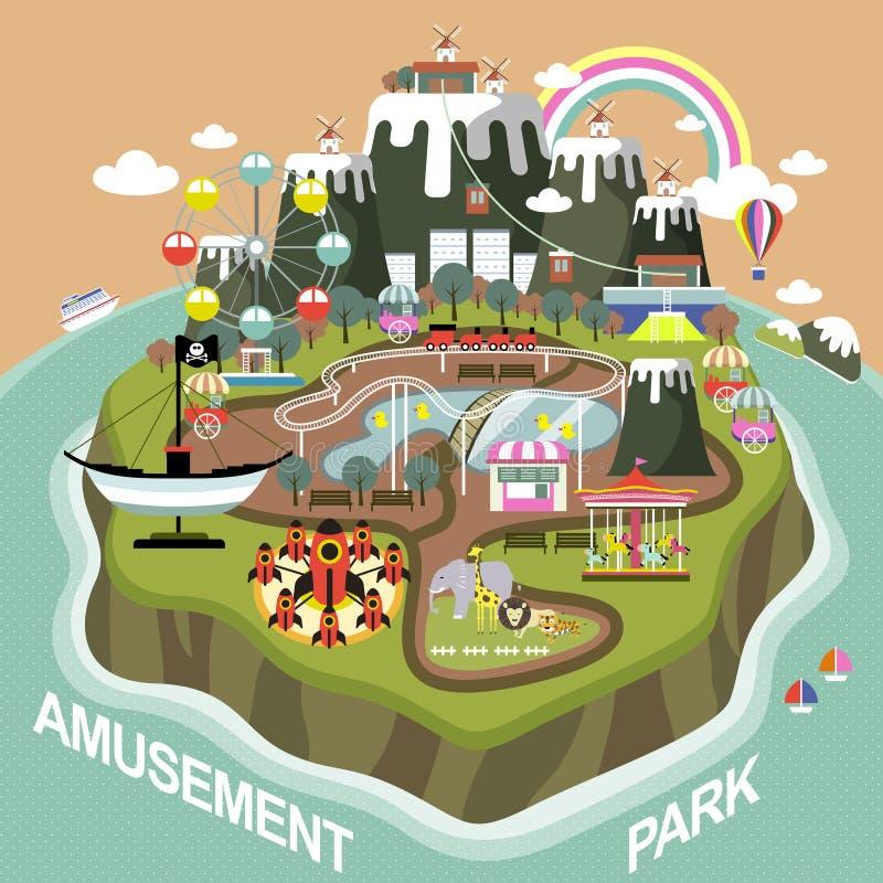Parque de atracciones en diseño plano libre illustration